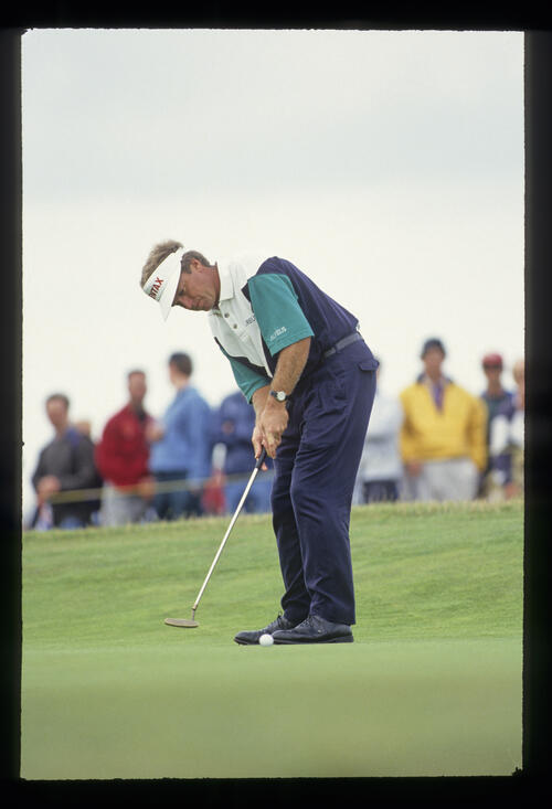 Wayne Grady putting during the 1993 Open Championship