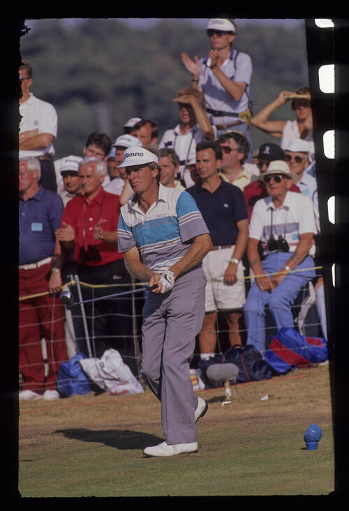 Wayne Grady watching closely from the tee during the 1989 Open Championship