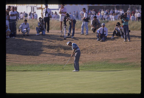 Wayne Grady putting from the fringe during the 1989 Open Championship