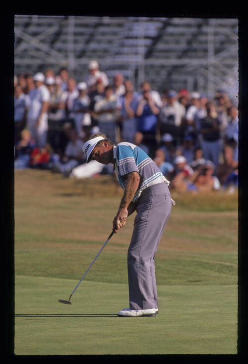 Wayne Grady putting during the 1989 Open Championship