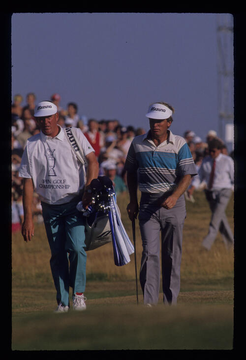 Wayne Grady and his caddie during the 1989 Open Championship
