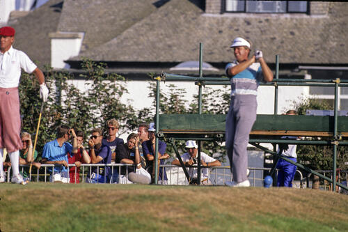 Wayne Grady and Payne Stewart on the tee during the 1989 Open Championship