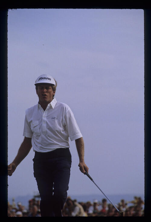 Wayne Grady celebrating a putt during the 1989 Open Championship