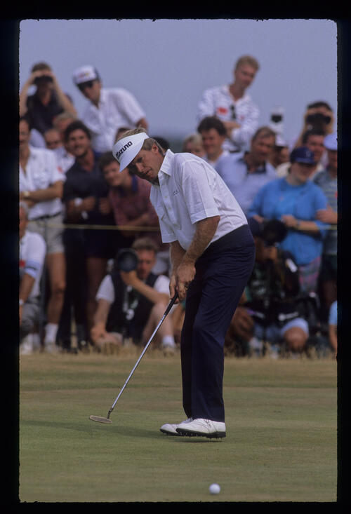 Wayne Grady stepping after a putt during the 1989 Open Championship