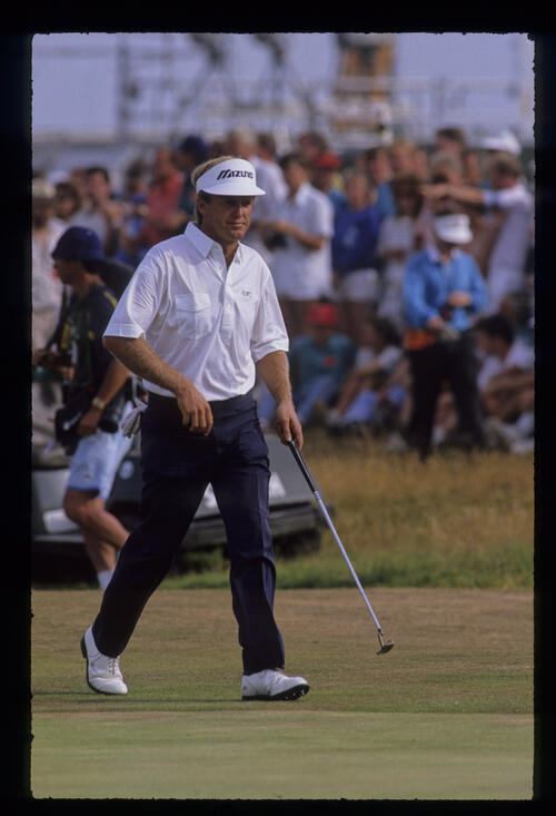 Wayne Grady striding across the green during the 1989 Open Championship