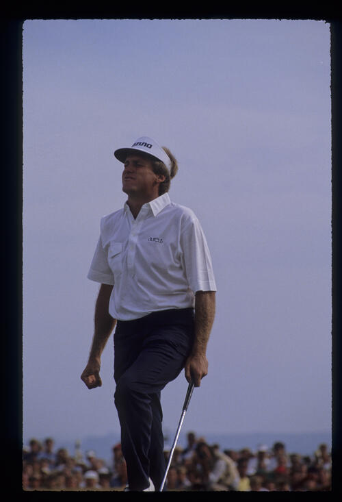 Wayne Grady showing emotion after putting during the 1989 Open Championship