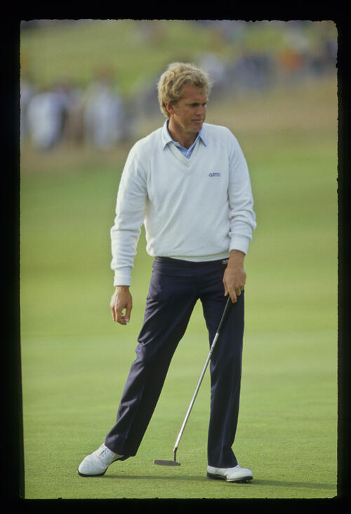 Wayne Grady walking after a putt during the 1987 Open Championship