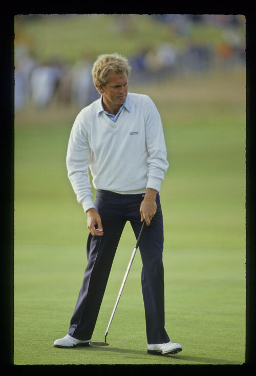 Wayne Grady stepping after a putt during the 1987 Open Championship