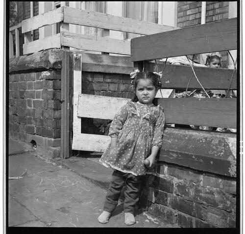 [An unidentified small child leaning against a wood and brick fence, Rye Hill]