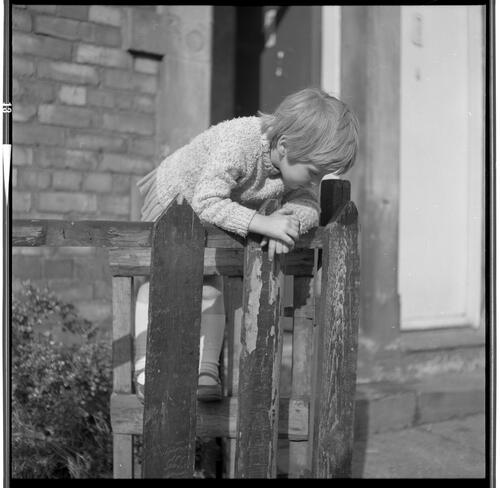 [An unidentified small child leaning over a wooden fence looking at the ground, Rye Hill]