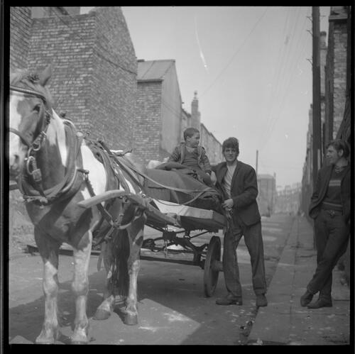 [An unidentified man standing next to a horse and cart with a small boy, Rye Hill]