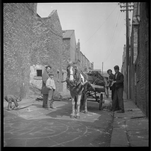 [Unidentified woman and men standing in the street with a horse and cart, Rye Hill]