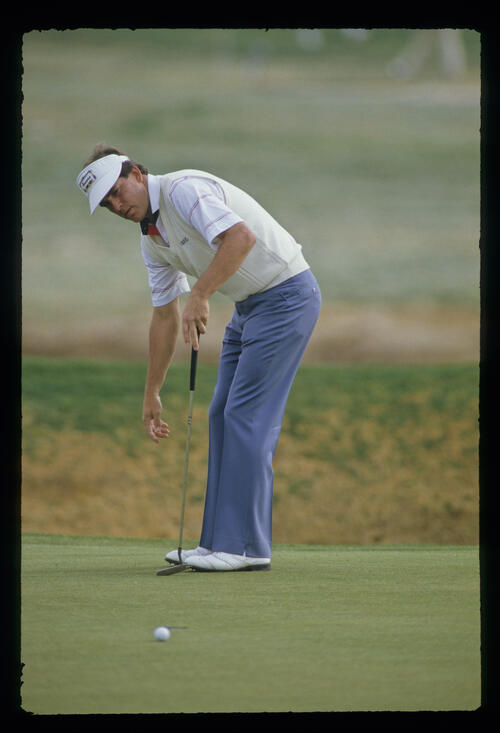 Jay Haas ruing a missed putt during the 1987 Phoenix Open