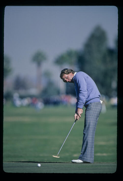 Jay Haas putting from the fringe during the 1982 Phoenix Open