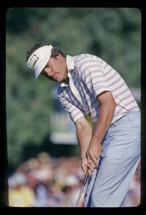 Jay Haas putting during the 1982 Phoenix Open