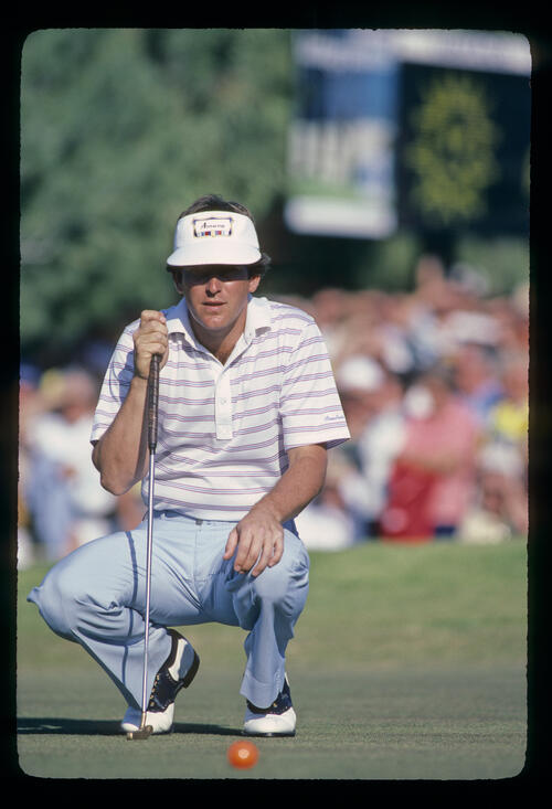 Jay Haas lining up a putt during the 1982 Phoenix Open