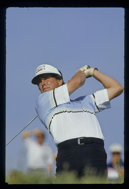 Jay Haas following through on the tee during the 1987 Phoenix Open