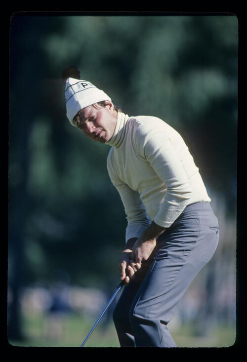Gary Hallberg putting during the 1982 Phoenix Open
