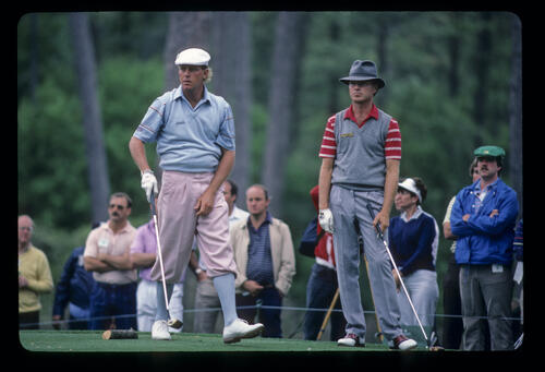 Gary Hallberg and Payne Stewart on the tee during the 1985 Masters