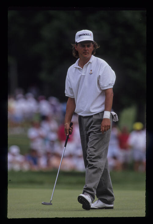 Nolan Henke pacing the green during the 1991 US Open
