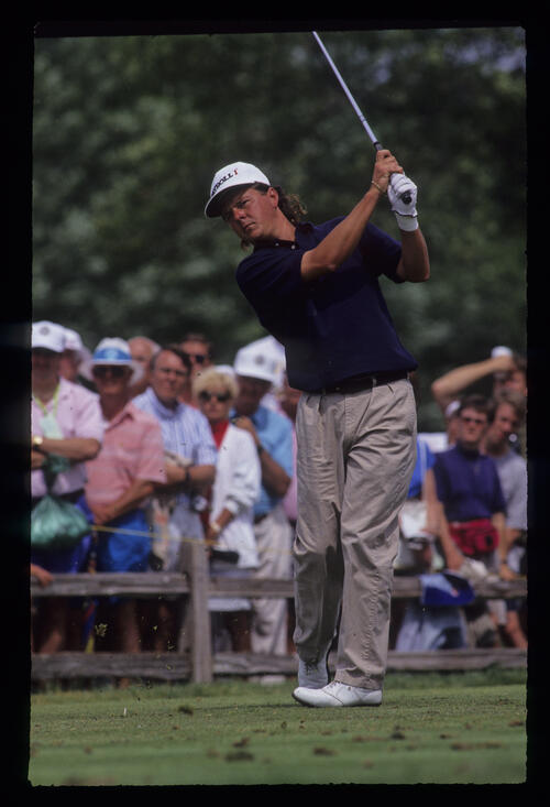 Nolan Henke following through during the 1991 US Open