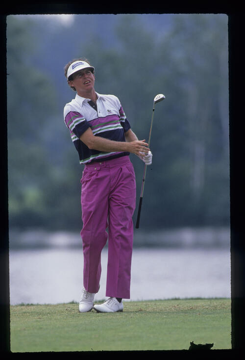 Scott Hoch watching from the tee during the 1989 USPGA