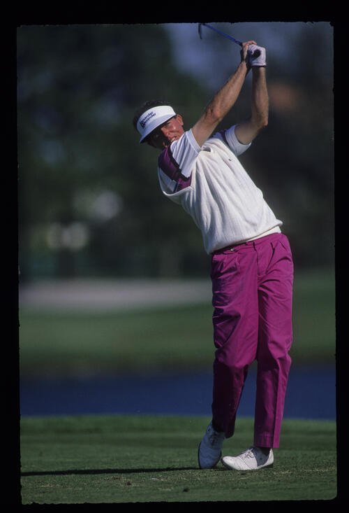 Scott Hoch following through on the tee during the 1989 USPGA