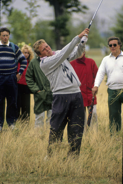 Richard Boxall hitting from the thick rough during the 1990 NM English Open