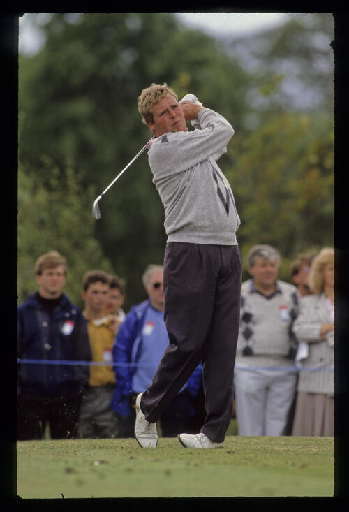 Richard Boxall following through on the tee during the 1990 NM English Open