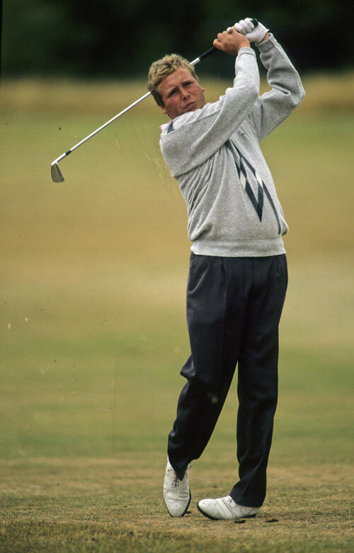 Richard Boxall following through on the fairway during the 1990 NM English Open