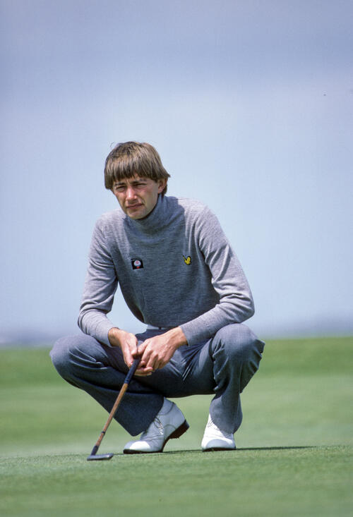 Ken Brown looking thoughtful as he lines up a putt during the 1983 Sun Alliance PGA