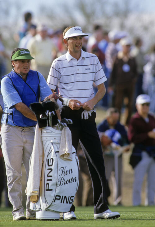 Ken Brown and his caddie considering their options on the tee during the 1987 Phoenix Open
