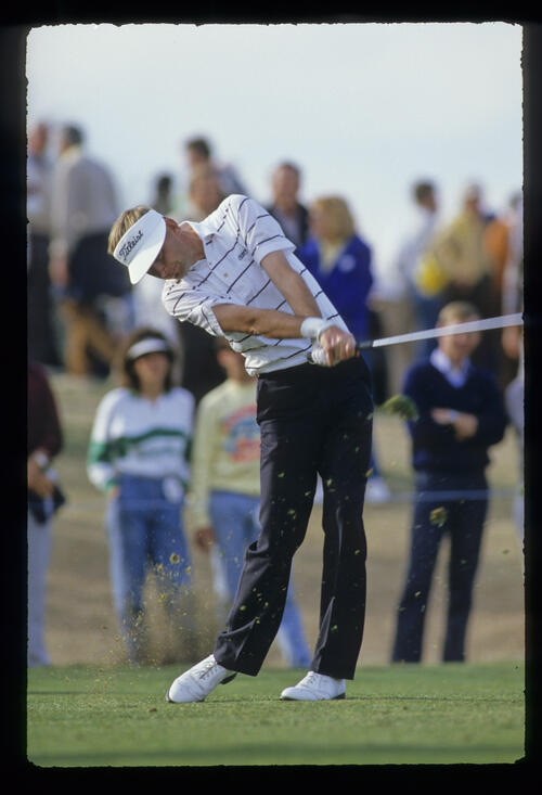 Ken Brown staying down through the ball during the 1987 Phoenix Open