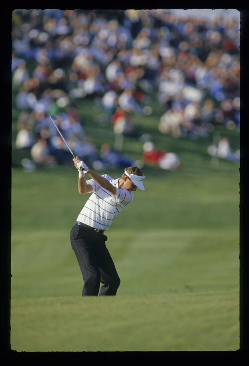 Ken Brown at the top of his backswing on the fairway during the 1987 Phoenix Open