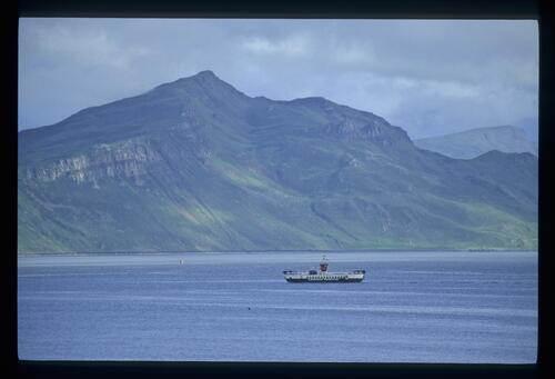 Ben Tianavaig and the Raasay ferry, Portree, Skye.