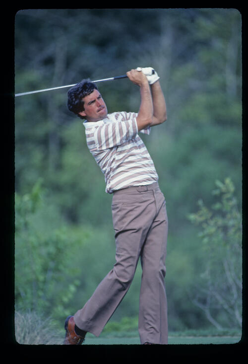 Bruce Lietzke following through on the tee during the 1985 TPC