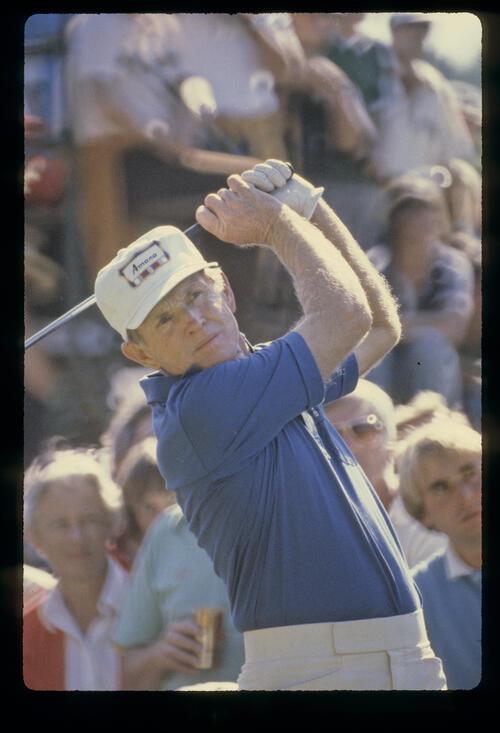 Gene Littler following through on the tee during the 1980 Greater New Orleans Open