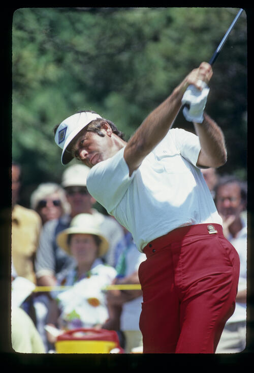 Bobby Nichols powering through a drive during the 1981 US Open
