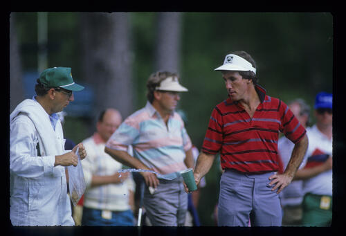 Mac O'Grady and Lanny Wadkins on the tee during the 1988 Masters
