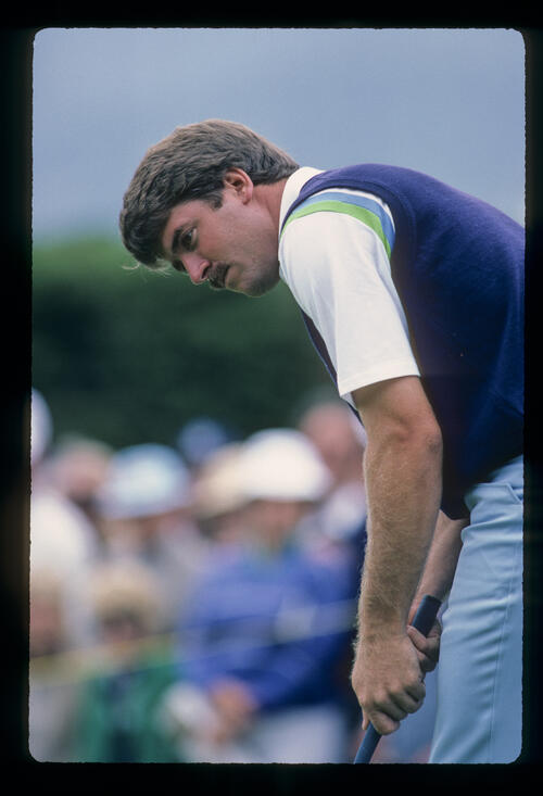 Dan Pohl concentrating on the green during the 1981 US Open