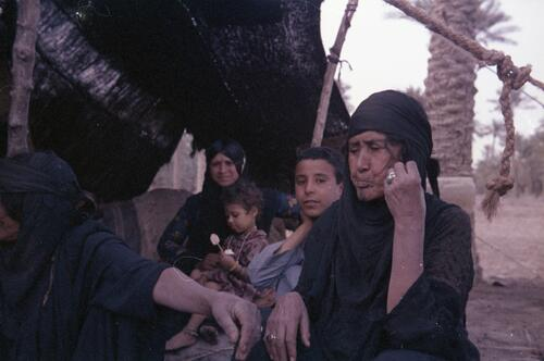 Unidentified Bedouin women and children