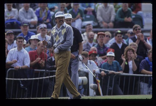 Eduardo Romero and Mark James on the tee during the 1991 Open Championship