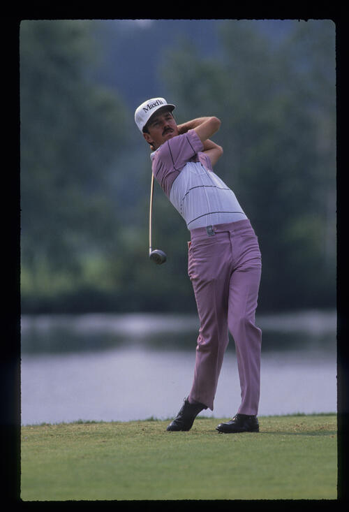 Dave Rummells following through on the tee during the 1989 USPGA