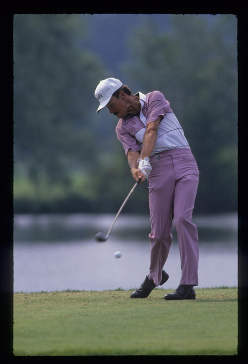 Dave Rummells just after impact on the tee during the 1989 USPGA