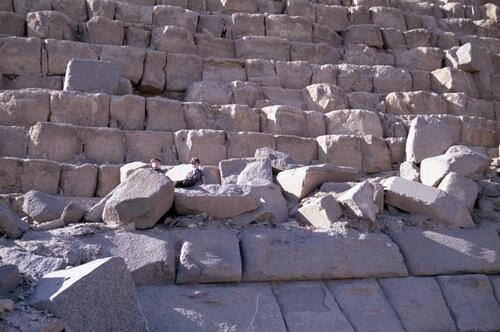 Two unidentified children on the ruins of the Great Pyramid