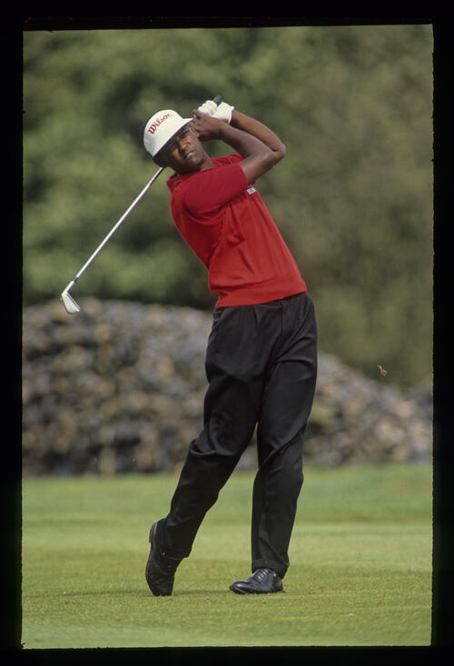 Vijay Singh following through during the 1990 NM English Open