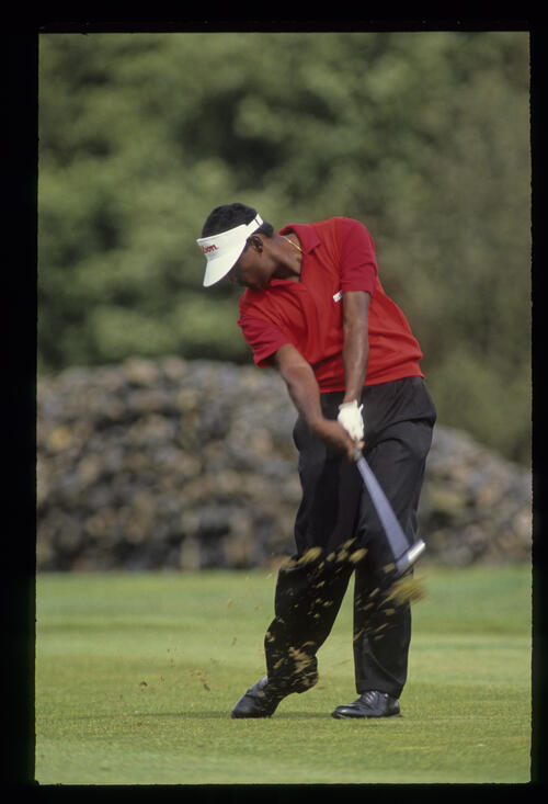 Vijay Singh just after impact on the fairway during the 1990 NM English Open