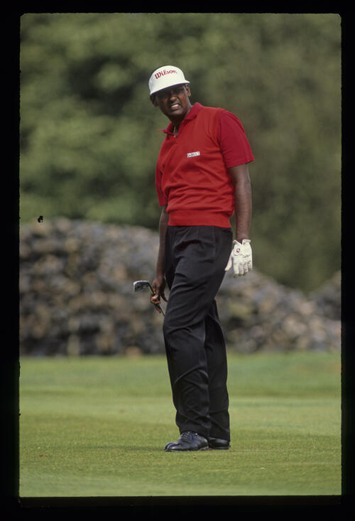 Vijay Singh looking anxious on the fairway during the 1990 NM English Open