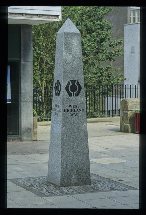 Milngavie - the obelisk marking the start of the Highland Way.