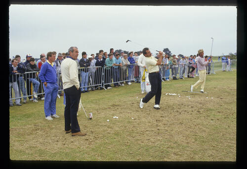 Sam and Bob Torrance on the practice ground during the 1986 Carroll's Irish Open